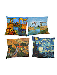 cheap -Set of 4 Van Gogh painting pattern Linen Pillowcase Sofa Home Decor Cushion Cover