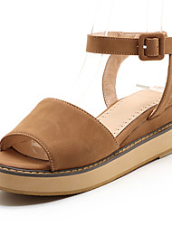 cheap -Women's Shoes PU Summer Fall Sandals Flat Heel Round Toe Buckle for Casual Outdoor Office & Career Black Beige Yellow Pink
