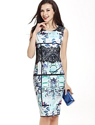 Women's Casual Formal Work Chinoiserie Sophisticated Bodycon Dress Floral Color Block Lace Round Neck Knee-length Sleeveless