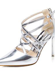 baratos -Mulheres Sapatos Couro Ecológico Primavera / Verão Tênis com LED Saltos Salto Agulha Dedo Apontado Roxo / Verde / Rosa Claro / Casamento