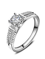 Ringe Bryllup Fest Speciel Lejlighed Daglig Afslappet Smykker Zirkonium Båndringe Ring Forlovelsesring 1 Stk.,6 7 8 9 10 Sølv