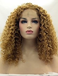 cheap -Heat Resistant Synthetic Lace Front Wigs Kinky Curly Hair Blonde 27# Color Synthetic Fiber Hair Lace Wig