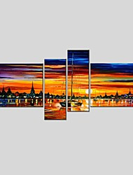 cheap -Hand-Painted Abstract Horizontal Panoramic, Classic Modern Canvas Oil Painting Home Decoration Four Panels