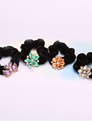 cheap -South Korea Crystal Flowers Flannelette Twist Horsetail Hair Circle Rope Head Hair Blended Hair 5pcs