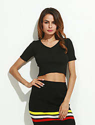 preiswerte -Damen Kurz Pullover-Lässig/Alltäglich Street Schick Solide Weiß Schwarz Grau V-Ausschnitt Kurzarm Baumwolle Sommer Mittel Dehnbar