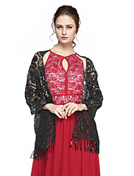 Women's Wrap Shawls Sequined Cashmere Wedding Party/Evening Sequin Tassels