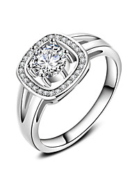 cheap -New Luxury  AAA Zircon Collection 925 Sterling Silver Brilliant Stackable Ring Clear Fine Jewelry