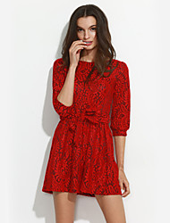 Trapèze Robe Femme Sortie Chic de Rue,Imprimé Col Arrondi Au dessus du genou Manches ¾ Rouge / Noir Polyester Automne Taille Normale