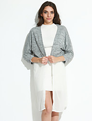 Women's Going out / Daily Sexy / Simple All Seasons BlousePatchwork Cowl  Sleeve White / Black