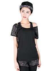 Per donna T-shirt e pantaloni da corsa Manica corta Asciugatura rapida Traspirante Reggiseni sportivi Top Set di vestiti per Yoga