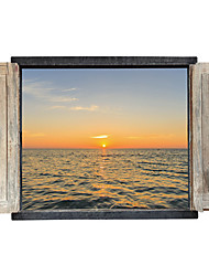 3D Sunset Wall Stickers False Window Setting Sun 3D Wall Stickers Fashion Removable Waterproof Bathroom Wall Decals