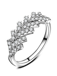 cheap -New Luxury  AAA Zircon Leef 925 Sterling Silver Brilliant Stackable Ring Clear Fine Jewelry