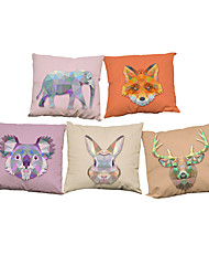Set of 5 Novelty geometric animal pattern Linen Pillowcase Sofa Home Decor Cushion Cover