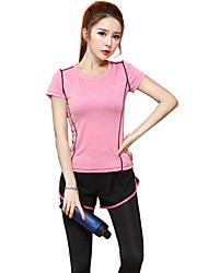 preiswerte -Damen Laufshirt Kurzarm Rasche Trocknung Atmungsaktiv T-shirt Oberteile für Yoga Übung & Fitness Laufen Modal Schlank Purpur Fuchsia S M