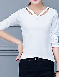 Women's Going out Formal Work Vintage Street chic Sophisticated All Seasons Spring T-shirt,Solid Asymmetrical Long SleeveWhite Black