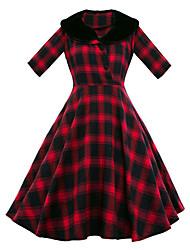 Women's Party Vintage Sheath Dress,Plaid Shirt Collar Knee-length ½ Length Sleeve Cotton Polyester Blue Red Spring SummerHigh