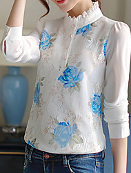 Women's Embroidery|Flare Sleeve Casual/Daily Work Simple Spring Summer Blouse,Solid Round Neck Long Sleeve Blue Pink White Polyester Thin