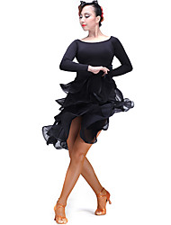 cheap -Latin Dance Bottoms Women's Performance Tulle Milk Fiber Ruffles 1 Piece Natural Skirt