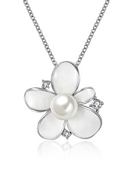 Women's Pendant Necklaces AAA Cubic Zirconia Imitation Pearl Flower Rose Gold Imitation Pearl Zircon Silver Plated Gold Plated Alloy