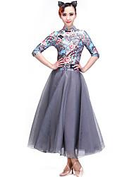 Ballroom Dance Dresses Women's Performance Spandex Velvet Pattern/Print 1 Piece Half Sleeve Dress
