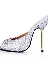 cheap -Women's Shoes Synthetic Summer Comfort Sandals Stiletto Heel Peep Toe for Casual Dress Party & Evening Gold Silver