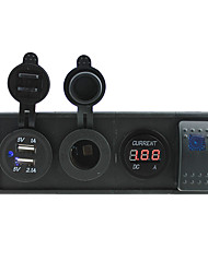 DC 12V/24V led power current meter 3.1A USB port Sockets with rocker switch jumper wires and housing holder