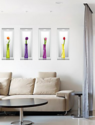 cheap -3D Three-Dimensional Vase Wall Stickers Creative DIY Living Room Bathroom 3D Wall Stickers Removable Wall Decals