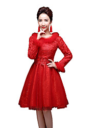 cheap -Winter Sweet Lolita Coat Princess Lace Women's One Piece Dress Cosplay Blue Purple Red Fuschia Golden Poet Long Sleeves