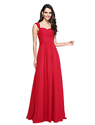 cheap -A-Line Straps Floor Length Chiffon Bridesmaid Dress with Ruching Criss Cross by LAN TING BRIDE®