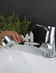 Contemporary Art Deco/Retro Modern Centerset Rain Shower Widespread Pullout Spray with  Ceramic Valve Single Handle One Hole for  Chrome,