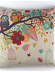 cheap -RayLineDo® Linen Cotton Square Throw Pillow Cover Bird Tree Decorative Pillow Case CTJZ21-PC-OT