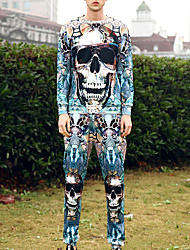 Activewear Set Da uomo Attivo Moda città Punk & Gotico Casual Sportivo Serata 3D Print Oversized Rotonda Media elasticità Poliestere