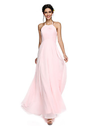 cheap -A-Line Jewel Neck Floor Length Georgette Bridesmaid Dress with Ruffles by LAN TING BRIDE® / Open Back