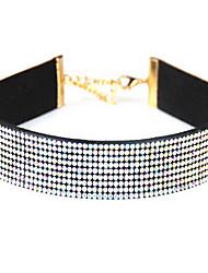 Damen Halsketten Imitation Diamant Einzelkette Kreisform Leder Strass Basis Europäisch Modeschmuck Schmuck Für Alltag Normal
