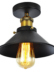 cheap -Max 60W Vintage Black Metal Shade Semi Flush Mount Light With 1 Light Painted Finish