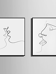 cheap -E-HOME® Framed Canvas Art Abstract Love Kiss Theme Series Framed Canvas Print One Pcs