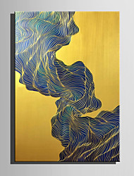 E-HOME Oil painting Modern Lines Around The Green Stone Pure Hand Draw Frameless Decorative Painting