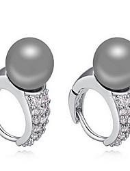 Da donna Orecchini a bottone Perle Natura Gioielli di Lusso Zirconi Zircone cubico Lega Gioielli Gioielli Per Quotidiano