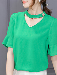 cheap -Women's Work Going out Street chic Blouse - Solid Colored V Neck