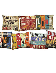 cheap -Set of 7 Retro  letter Linen  Cushion Cover Home Office Sofa Square  Pillow Case Decorative Cushion Covers Pillowcases