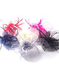 economico -copricapo di fiori di tulle piuma fascinator fiori classico stile femminile