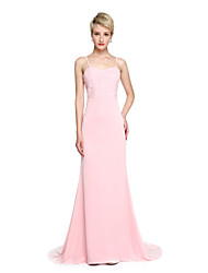 Mermaid / Trumpet Spaghetti Straps Court Train Jersey Bridesmaid Dress with Appliques by LAN TING BRIDE®