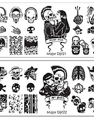preiswerte -1pc halloween Terrorist der Punk das Skelett Muster Nagelkunst-Vorlage 10 Absatz optional