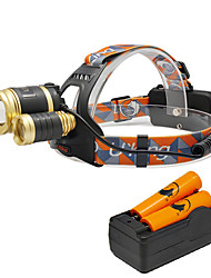 Недорогие -U'King Налобные фонари Налобный фонарь Светодиодная лампа 3000 lm 3 4.0 Режим Cree XM-L T6 с батарейками и зарядным устройством