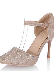 Tacchi-Matrimonio Formale Serata e festa-D'Orsay Club Shoes-A stiletto-Lustrini Materiali personalizzati-Argento Dorato
