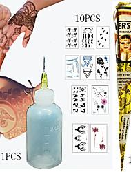 Tintas Temporárias-Á Prova d'água hena- paraBebê Criança Feminino Girl Masculino Adulto Menino Adolescente- dePapel Purpurina-Preta-141