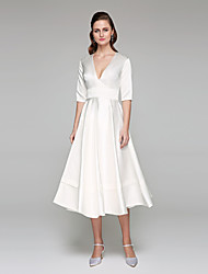 cheap -A-Line Plunging Neckline Tea Length Satin Wedding Dress with Sash / Ribbon by LAN TING BRIDE®