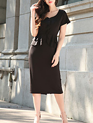 Women's Going out Casual/Daily Simple Street chic Lace Up Sheath DressSolid V Neck Midi Short Sleeve Ruffle Summer Fall High Rise