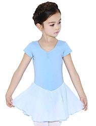 Ballet Dresses Children's Training Cotton Ruffles 1 Piece Short Sleeve Natural Dress