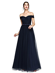 cheap -A-Line Off-the-shoulder Floor Length Satin Tulle Bridesmaid Dress with Sash / Ribbon Criss Cross by LAN TING BRIDE®
